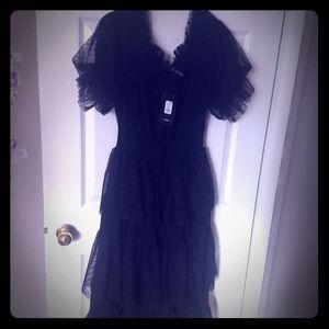 Black lace tulle dress